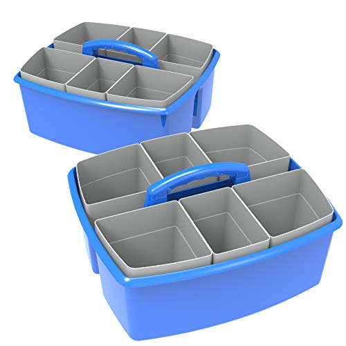 Storex Large Classroom Caddy with Cups, 13 x 11 x 6.575 Inches, Blue, Case of 2 (00985U02C)