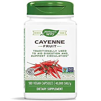 Nature s Way Cayenne Pepper 40,000 SHU Potency Non-GMO & Gluten Free Vegetarian Capsules 180 Count