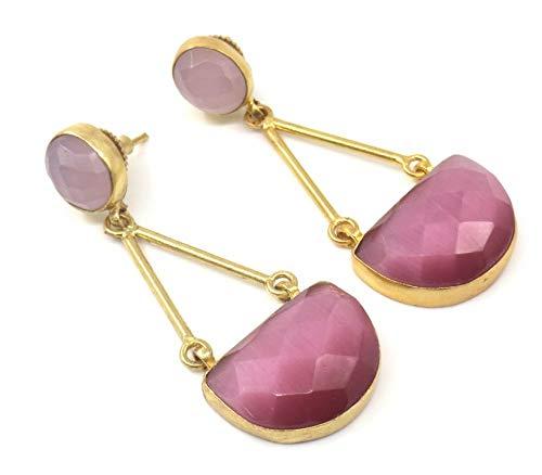 Jewelshingar Jewellery Fine Semi Precious Pink Agate Earrings For Women (53288URVI)