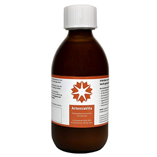 algova ArtemiaVita - Oeufs d'Artemia encapsulés décapsulés avec 95% - 99% d'éclosion Aliments Vivants pour l'élevage de Poissons d'ornement (250ml = 10 Millions Oeufs)