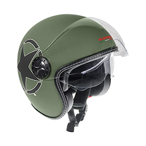 Guardian 0321 Casco da Moto Jet - Doppia visiera. Visiera Occhiale interno extra fumè a scomparsa. Cinturino a sgancio rapido- Army, Taglia M