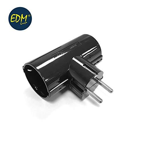 EDM E40058 Doppelstecker, schwarz, Blister mit Bakelit, T/Tl 16 A, Schwarz, 250 V