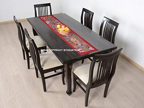 The Art Box Chemin de table brodé indien - Tapisserie patchwork - Tapis de table rectangulaire en coton - Décoration hippie - Rouge - 50,8 x 20,3 cm