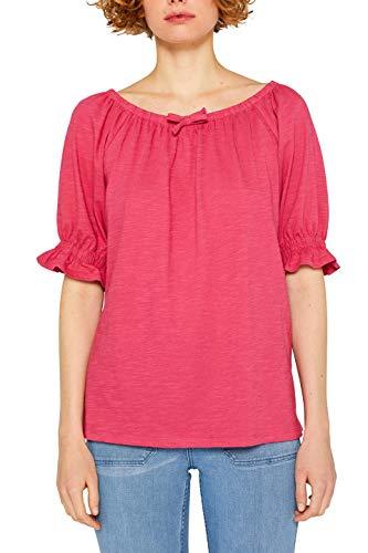 ESPRIT Damen 049EE1K004 Langarmshirt, Rosa (Pink Fuchsia 660), Large (Herstellergröße: L)