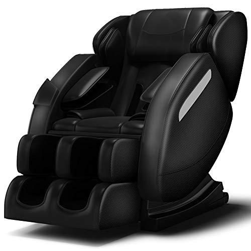 Zero Gravity Full Body Massage Chair Recliner Built-in Bluetooth Neck Shoulder Back Waist Foot Roller Lower-Back Heating (Black)