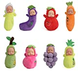 Mommy & Me Plush Baby Dolls Soft Babies, Assorted Mini Fruit Dolls for Party Favor, Cake Topper, Baby Shower (8 Pack)