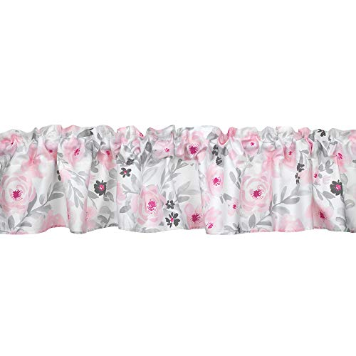 Bedtime Originals Blossom Pink/Gray Watercolor Floral Window Valance