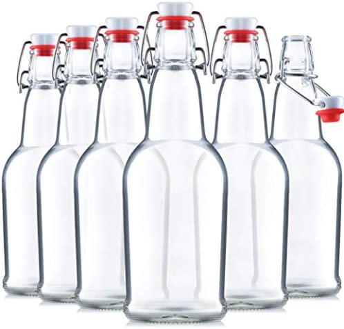 Glass Swing Top Beer Bottles 16 Ounce 6 Pack Grolsch Bottles with Flip top Airtight Lid for product image