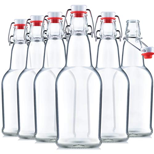 Glass Swing Top Beer Bottles - 16 Ounce (6 Pack) Grolsch Bottles, with Flip-top Airtight Lid, for Carbonated Drinks, Kombucha, 2nd Fermentation, Water Kefir, Clear Brewing Bottle.