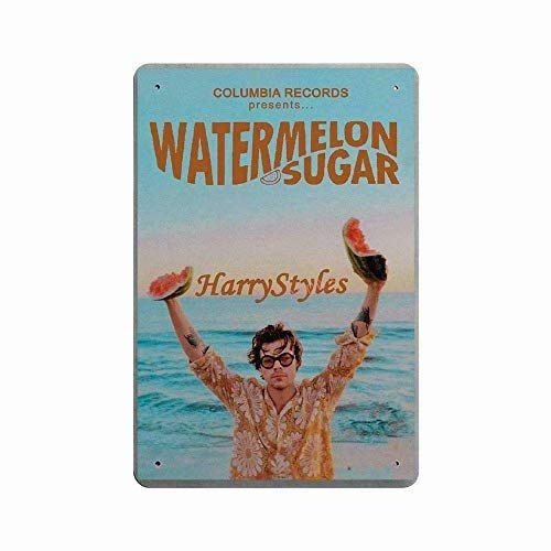 Metal Sign - Watermelon Sugar Harry Styles Music Poster Tin Sign for Girl's Bedroom Bar Cafe Wall Decor Harry Fans Gift 12x8