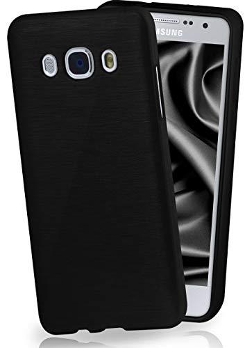 MoEx® Funda de Silicona con Aspecto Aluminio Cepillado Compatible con Samsung Galaxy J7 (2016) en Anthracite