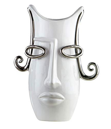 Gilde Vase Curl - aus Keramik in weiß silber H 31 cm B 23 cm