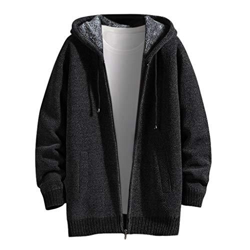 Mantel Herren Herbst Winter Plus Samt Warm Reißverschluss Solide Casual Lose Hooded Jacke