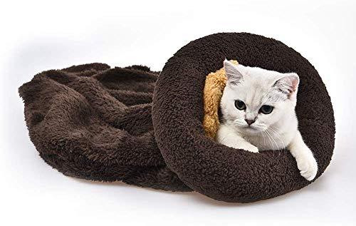 YGJT Katze Schlafsack Haustier Hundebett Hundesofa Katzensofa Schöne Waschbare Tasche Decken Matte Für Kitty Kleine Tiere (Braun)