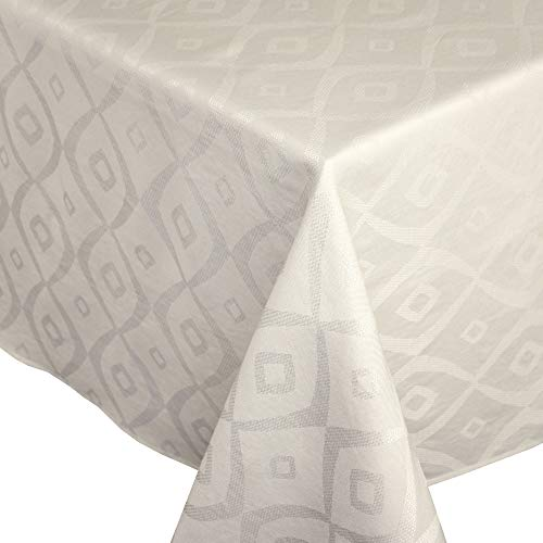 Nappe rectangle 150x350 cm Jacquard 100% polyester BRUNCH ecru