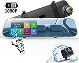 DuDuBell Dashcam Autokamera 1080P Rückspiegelkamera Monitor mit wasserdichte Rückfahrkamera Dual Lens dashcam 4,3' Touchscreen 170° Weitwinkel G-Sensor Loop-Aufnahme Parküberwachung Bewegungserkennung