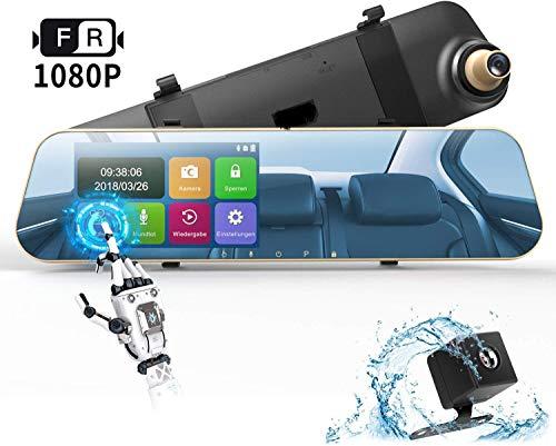 DuDuBell Dashcam Autokamera 1080P Rückspiegelkamera Monitor mit wasserdichte Rückfahrkamera Dual Lens dashcam 4,3