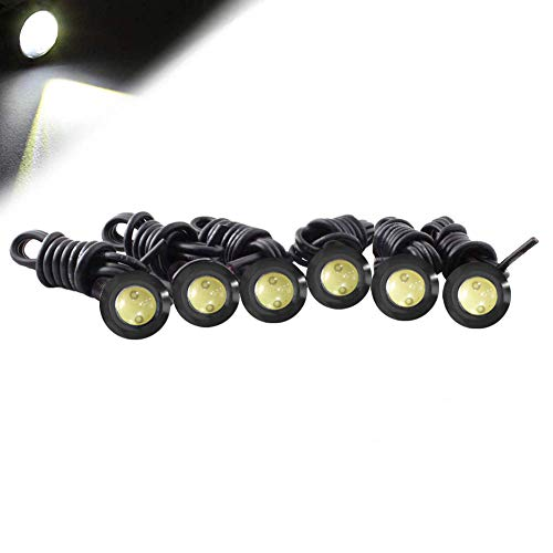 HOTSYSTEM Eagle Eye LED Light Bulbs 9W DC12V 12mm for Off-Road Car ATV Camper Trunk Motorcycle Day Time DRL License Plate Turn Signal Stop Parking Tail Reverse Fog Trunk Backup Light (White,12-pack)