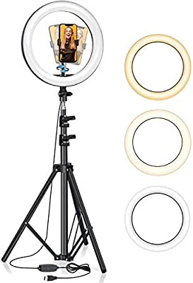 "Selfie Ring Light with Tripod Stand 63"", BlitzWolf 10"" Dimmable Led Ring Light with Phone Holder, Circle Light LED Camera Lighting for Live Stream/Makeup/YouTube/TikTok/Photography from BlitzWolf"