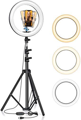 Selfie Luce Anello a LED, BlitzWolf 160cm Luce AnulareTreppiede 10.2'' Ring Light con Telecomando, 3 Colori, 11 Livelli di Luminosità, Adatta Video, YouTube, TikTok, Live Streaming, Trucco, Fotografia