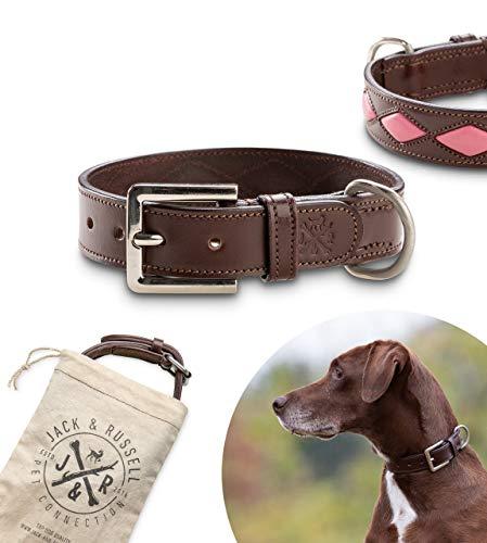 Collar de perro de cuero de primera calidad Rhonda - dos capas de cuero cosidas juntas - collar de perro de cuero genuino con J&R en relieve (L - circunferencia del cuello 48.5-57.5 cm, Ma