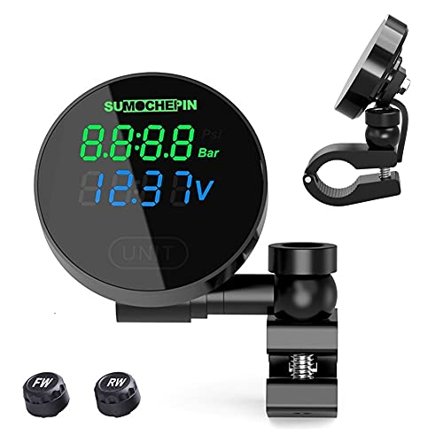 TPMS Sistema de Monitoreo de Presión de Neumáticos de Moto, Presión de Neumáticos Manómetro de Motocicleta Impermeable, Detector Eléctrico Inalámbrico con Sensores externos, Pantalla Digital LCD
