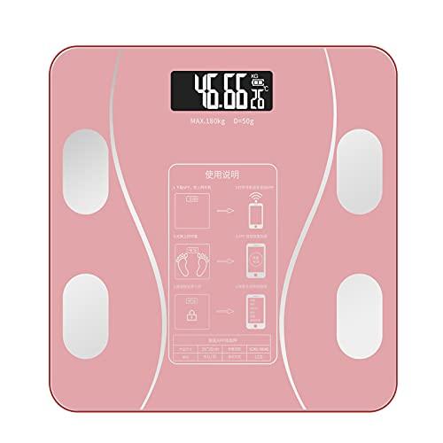 LYRRHT Báscula De Baño Báscula De Baño Digital Inteligente Del Cuerpo Humano Medición De Alta Precisión Báscula De Peso Bluetooth Con Aplicación Polvo curvo (26 * 26 cm) Carga USB