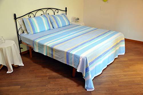 Bassetti Lenzuola matrimoniali 2 piazze Dream Flowing Azzurro sopra + sotto + 2 federe