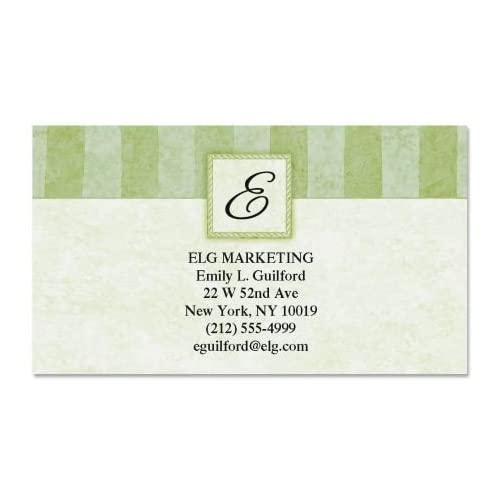 """Tailored Elegance Initial Business Cards - Set of 250 2"""" x 3-1/2"""" custom business card design; 80# Cover Stock, Opaque, Matte"""