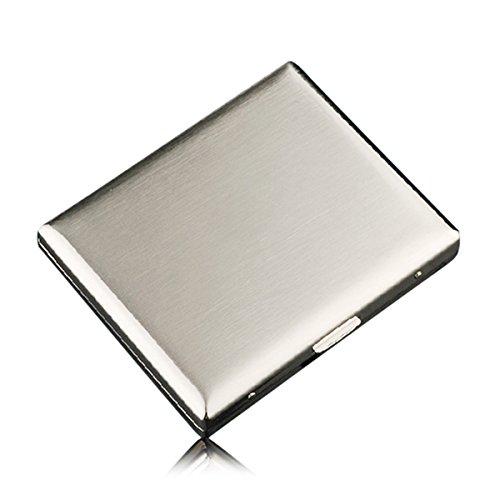 CaLeQi - Scatola Portasigarette in Acciaio Inossidabile di Alta Qualità, Design a Filo Placcato Nichel, Contiene 20 Sigarette (Con Confezione Regalo di Marca)