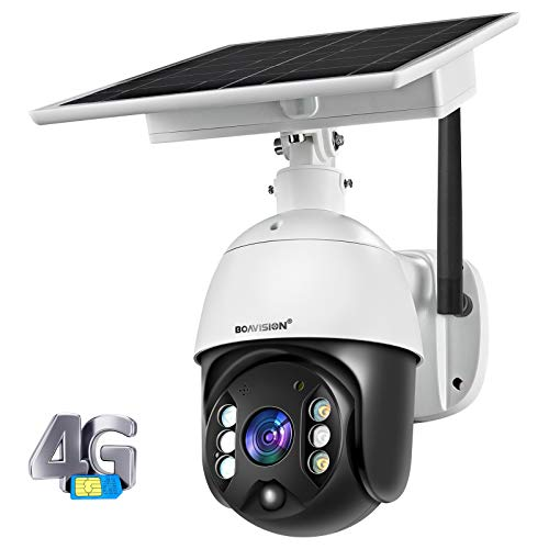 Wireless Security Camera Outdoor with Cellular 4G Network Solar Battery, Home Video Surveillance System, PIR Radar Motion Detection, Full-Color Night Vision 2-Way Audio, Pan Tilt, IP65