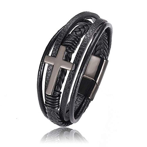 Elxf love bracelet,Mens Leather Bracelet – Classic Handmade Braided Black Cuff Bracelet with Engraved Magnetic Clasp-Black