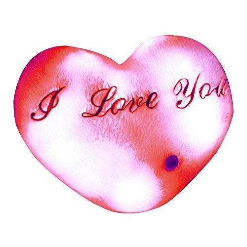 Brigamo LED Leucht Kissen Herzkissen I Love You, 35 cm Plüsch Kissen mit Nachtlicht Farbwechsel