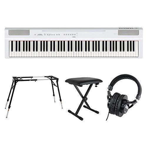 YAMAHA P-125WH ホワイト 電子ピアノ キーボードスタンド キーボードベンチ ヘッドホン 4点セット [鍵盤 Fset]