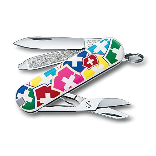 Victorinox Classic Sd Petit Couteau de Poche Suisse, Léger, Multitool, 7 Fonctions, Ciseaux, Lime à Ongles, Vx Couleurs