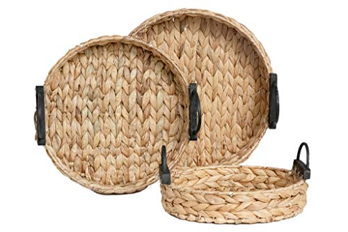 Handcrafted Hyacinth Storage Baskets and Serving Trays by RGI Home, Set of 3 (Round)