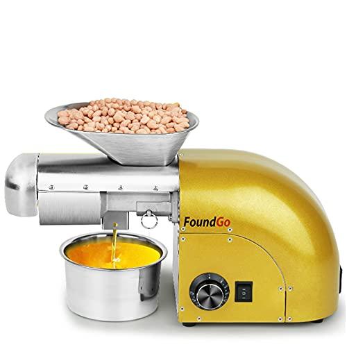 FoundGo 1800W Ölpresse 0-300℃ Öl Pressmaschine Elektrische Ölmühle Walnüsse Erdnüsse Kaltpresse Automatische Heißprsse Edelstahl Extraktor für Kommerziell & Haushalt , 6-9kg/St.