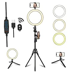 【Dimmable Ring Light】 3 colors lights modes: white/ warm white / warm light,10 inch LED ring LED light 2700-6500K, and 10 adjustable brightness for each color. Perfect dimmable brightness and colors meet all your needs. It's best ideal ring light for...