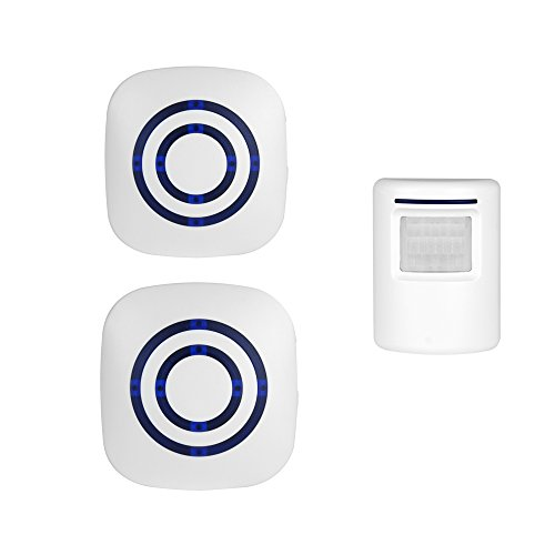 ENEGG Wireless Home Security Driveway Alarm, Entry Alert, Visitor Door Bell Chime with 2 Plug-in Receiver and 1 PIR Motion Sensor Detector Alert System, Quality Sound and LED, 38 Melodies