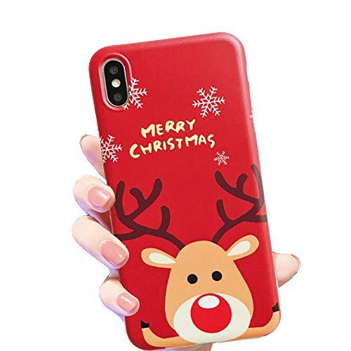 "HUIYCUU Case for iPhone Xs Max Case 6.5"", Merry Christmas Shockproof Cute Pretty Design Flexible Rose Pattern Slim Soft Bumper Gifts Girl Women Cover Compatible with iPhone Xs Max,Deer Red"