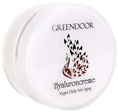 Greendoor Hyaluron Creme vegan 50ml Glastiegel, Anti Aging straffende Feuchtigkeitscreme, Hyaluroncreme, natürliche pflanzliche Hyaluronsäure, Tagescreme & Nachtcreme, Gesicht Hals Dekolleté, Natur