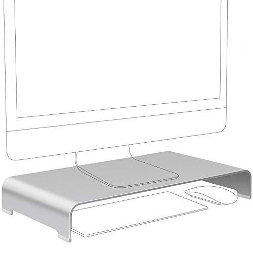 Vaydeer Aluminium Monitorständer Computer Riser Metall Desktop Monitor Ständer bis zu 27 Zoll Bildschirme für PC, Mac, MacBook, Laptop mit Speicherplatz Organizer für Keyboard & Mouse - Silber, Klein