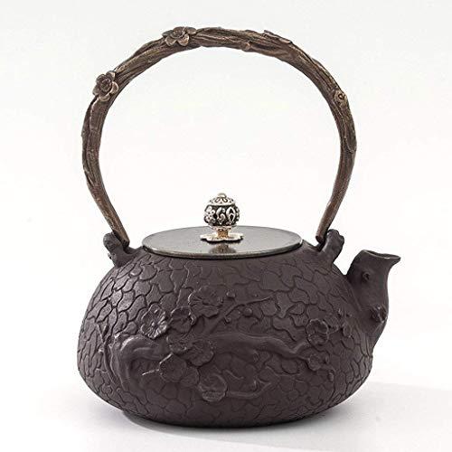 Tetera de Hierro Fundido Vintage de 900 ML, hervidor de Agua de fácil Limpieza, Juego de té, oxidación sin Recubrimiento, Arte de Pared Interior, Regalo, patrón de Ciruela