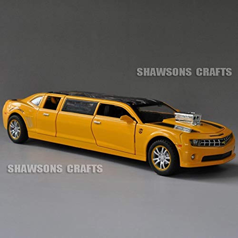 Generic 1 32 Diecast Car Model Toys Chevrolet Camaro Stretch Limousine Pull Back w  Sound & Light Yellow