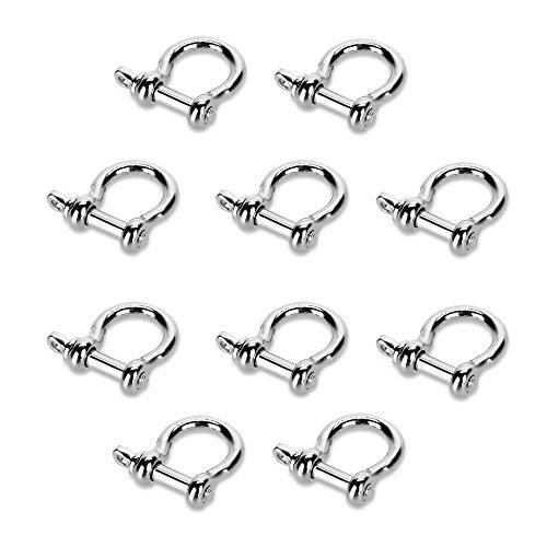 SODIAL(R) 10 x Boucle Attache Reglable en Acier Inox 5mm pour Bracelet de Survie Para corde