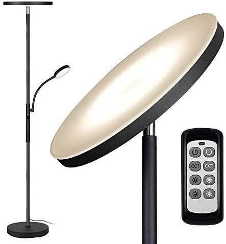 Floor Lamp - Dimunt LED Floor Lamps for Living Room Bright Lighting, 27W/2000LM Main Light and 7W/350LM Side Reading ...