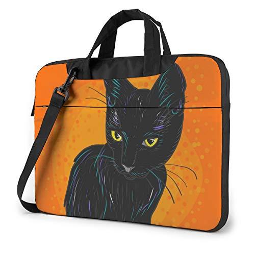Cute Black Cat with Crown Orange Laptop Bag Protective Case Computer Messenger Briefcase Women Men 14'