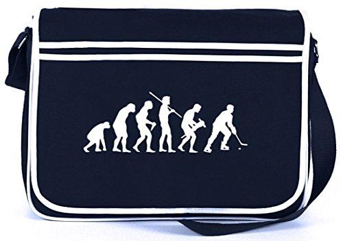 Shirtstreet24, EVOLUTION EISHOCKEY, Sport Retro Messenger Bag Kuriertasche Umhängetasche , Größe: onesize,Navy
