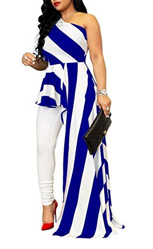 Bodycon Dress Shirt Women Short Sleeve One Shoulder High Low Peplum Asymmetrical Hem Top Royal Blue