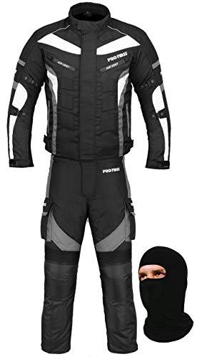Vêtements de moto imperméables en tissu Cordura (veste + pantalon + cagoule) pour tous temps